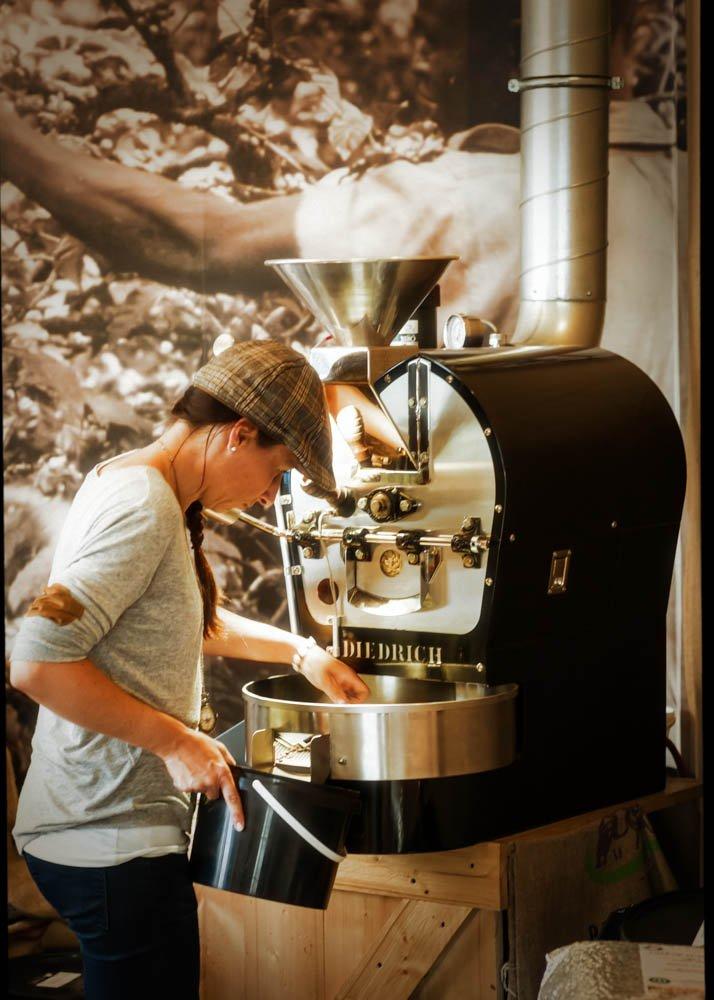 Roasting coffe.